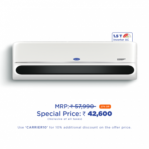Carrier Indus NXi 18K 3 Star Inverter AC with Flexicool & Smart Energy Display (1.5T)